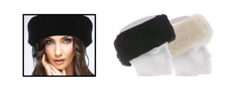Sheepskin Head Bands - Black & White - Size: OSFM (One Size Fit Most)