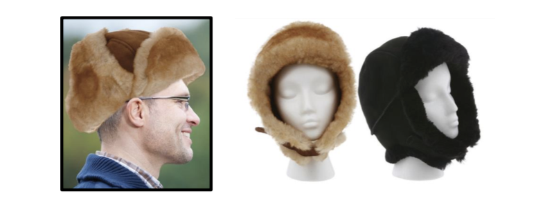 Sheepskin Trooper Hats - Black & Chestnut - Size: S-M-L-XL