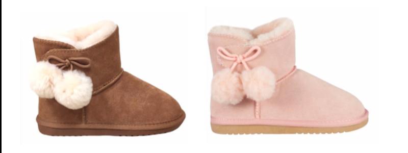 Sheepskin Kids Pompom Boots - Pink & Chestnut - 800x300 - white