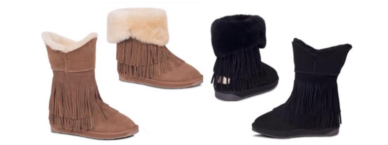 Sheepskin Ladies Fringed Boots - Chest & Black - 800x300 - white