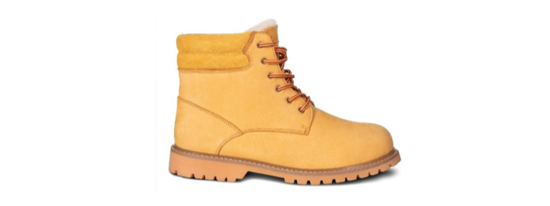 Men's Sheepskin Adam Boots -- size 7-8-9-10-11-12-13-14 -- Color Yellow with Hard Outdoor Sole