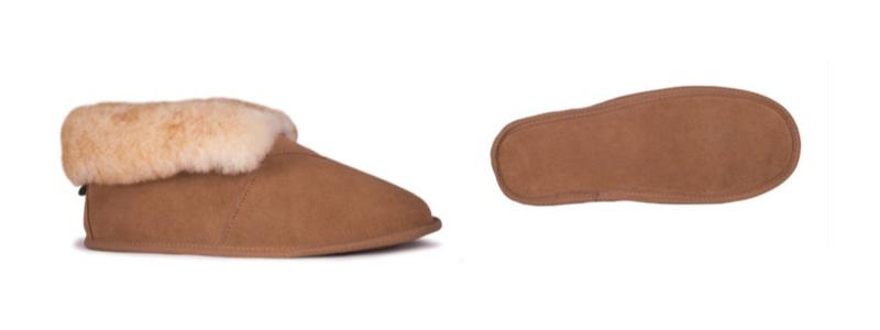 Men's Sheepskin Soft Leather Sole Bootie -- size 7-8-9-10-11-12-13-14-15-16 -- Color Chestnut
