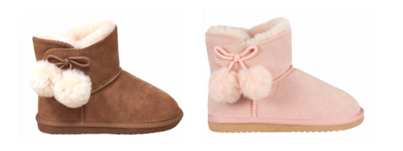 Kid PomPom Boots - Pink & Chestnut - Size 6-7, 8-9, 10-11, 12-13, 1, 2, 3, 4